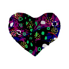 Abstract Colorful Chaos Standard 16  Premium Flano Heart Shape Cushions by Valentinaart