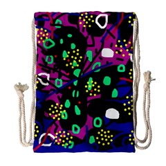 Abstract Colorful Chaos Drawstring Bag (large) by Valentinaart