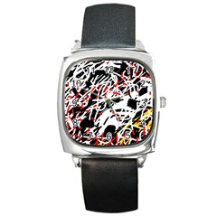 Colorful Chaos By Moma Square Metal Watch by Valentinaart