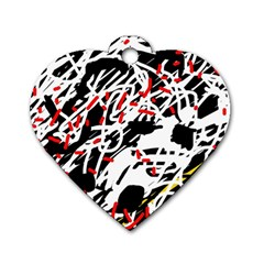 Colorful Chaos By Moma Dog Tag Heart (one Side) by Valentinaart