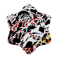 Colorful Chaos By Moma Snowflake Ornament (2 Side) by Valentinaart