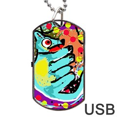 Abstract Animal Dog Tag Usb Flash (one Side) by Valentinaart