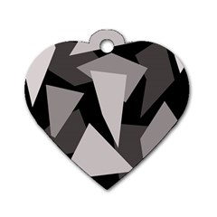 Simple Gray Abstraction Dog Tag Heart (one Side) by Valentinaart