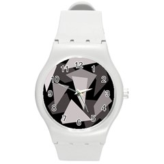 Simple Gray Abstraction Round Plastic Sport Watch (m) by Valentinaart