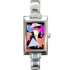Colorful Geometrical Design Rectangle Italian Charm Watch by Valentinaart