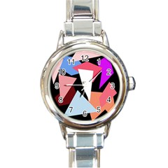 Colorful Geometrical Design Round Italian Charm Watch by Valentinaart