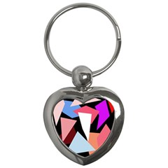 Colorful Geometrical Design Key Chains (heart)  by Valentinaart