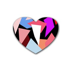 Colorful Geometrical Design Rubber Coaster (heart)  by Valentinaart