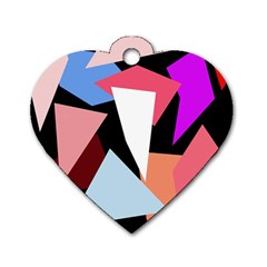 Colorful Geometrical Design Dog Tag Heart (two Sides) by Valentinaart