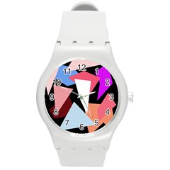 Colorful Geometrical Design Round Plastic Sport Watch (m) by Valentinaart