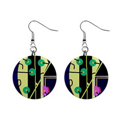 Crazy Abstraction By Moma Mini Button Earrings