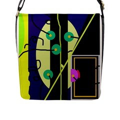 Crazy Abstraction By Moma Flap Messenger Bag (l)  by Valentinaart