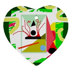 Green Abstract Artwork Ornament (heart)  by Valentinaart