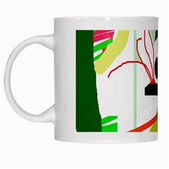 Green Abstract Artwork White Mugs by Valentinaart