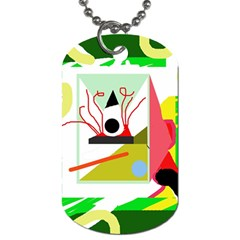 Green Abstract Artwork Dog Tag (two Sides) by Valentinaart