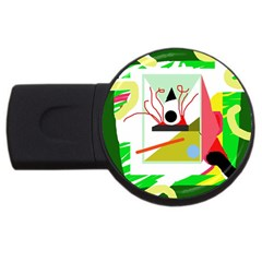Green Abstract Artwork Usb Flash Drive Round (4 Gb)