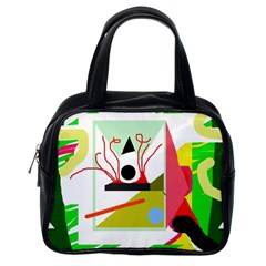 Green Abstract Artwork Classic Handbags (one Side) by Valentinaart