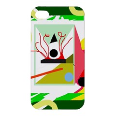 Green Abstract Artwork Apple Iphone 4/4s Hardshell Case by Valentinaart