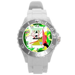 Green Abstract Artwork Round Plastic Sport Watch (l) by Valentinaart