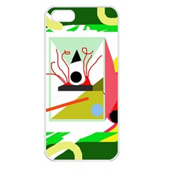 Green Abstract Artwork Apple Iphone 5 Seamless Case (white) by Valentinaart