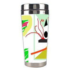 Green Abstract Artwork Stainless Steel Travel Tumblers by Valentinaart