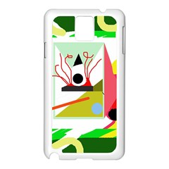 Green Abstract Artwork Samsung Galaxy Note 3 N9005 Case (white) by Valentinaart