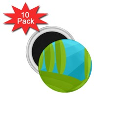 Green And Blue Landscape 1 75  Magnets (10 Pack)  by Valentinaart