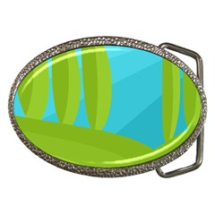 Green And Blue Landscape Belt Buckles by Valentinaart