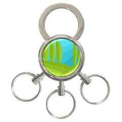 Green And Blue Landscape 3 Ring Key Chains by Valentinaart