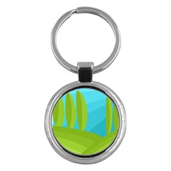 Green And Blue Landscape Key Chains (round)  by Valentinaart