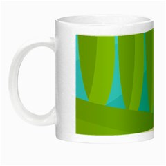Green And Blue Landscape Night Luminous Mugs by Valentinaart