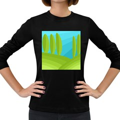 Green And Blue Landscape Women s Long Sleeve Dark T Shirts by Valentinaart