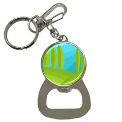 Green And Blue Landscape Bottle Opener Key Chains by Valentinaart