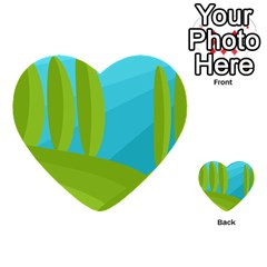 Green And Blue Landscape Multi Purpose Cards (heart)