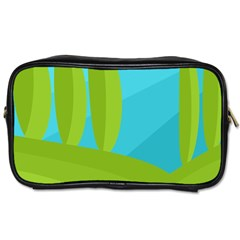 Green And Blue Landscape Toiletries Bags by Valentinaart