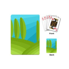 Green And Blue Landscape Playing Cards (mini)  by Valentinaart