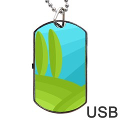 Green And Blue Landscape Dog Tag Usb Flash (one Side) by Valentinaart