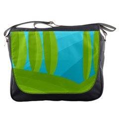 Green And Blue Landscape Messenger Bags by Valentinaart