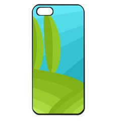 Green And Blue Landscape Apple Iphone 5 Seamless Case (black) by Valentinaart