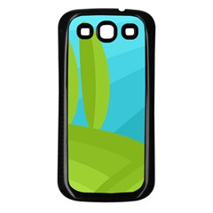 Green And Blue Landscape Samsung Galaxy S3 Back Case (black) by Valentinaart
