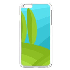 Green And Blue Landscape Apple Iphone 6 Plus/6s Plus Enamel White Case by Valentinaart