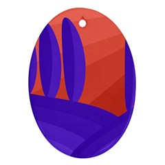 Purple And Orange Landscape Oval Ornament (two Sides) by Valentinaart