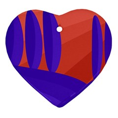 Purple And Orange Landscape Heart Ornament (2 Sides) by Valentinaart