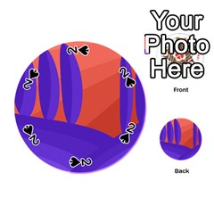 Purple And Orange Landscape Playing Cards 54 (round)  by Valentinaart