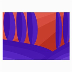 Purple And Orange Landscape Large Glasses Cloth (2-side) by Valentinaart