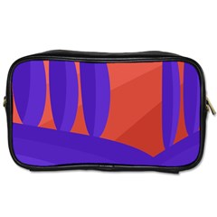 Purple And Orange Landscape Toiletries Bags 2 Side by Valentinaart