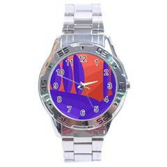 Purple And Orange Landscape Stainless Steel Analogue Watch by Valentinaart