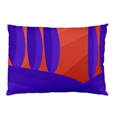 Purple And Orange Landscape Pillow Case (two Sides) by Valentinaart
