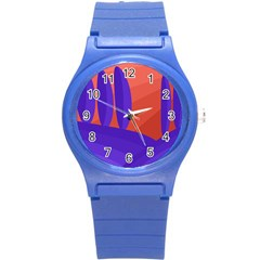 Purple And Orange Landscape Round Plastic Sport Watch (s) by Valentinaart