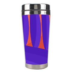 Purple And Orange Landscape Stainless Steel Travel Tumblers by Valentinaart